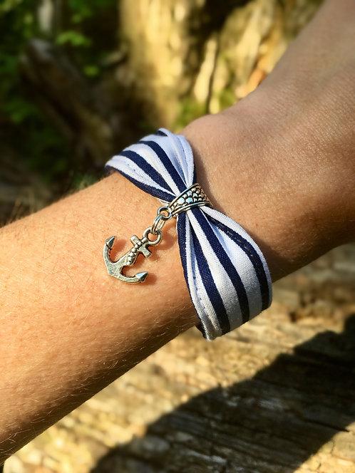 Bracelet en tissu - modèle marin