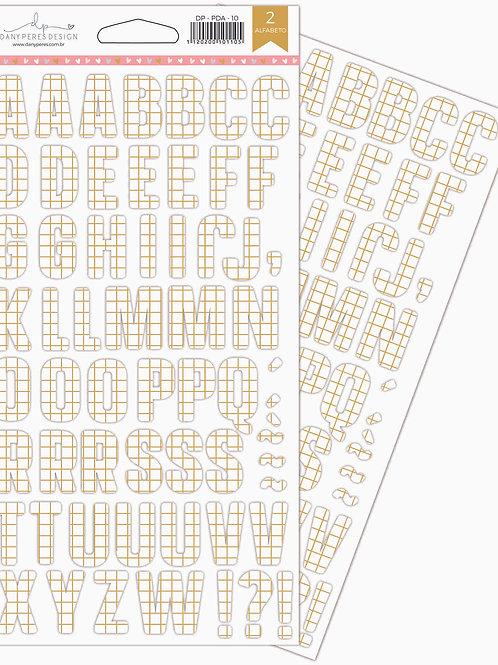 Kit com 3 Alfabetos Chipboard Adesivados Pequenas Desbravadoras