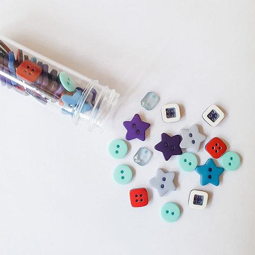 Kit com 03 potinhos de botões Pequenos Desbravadores