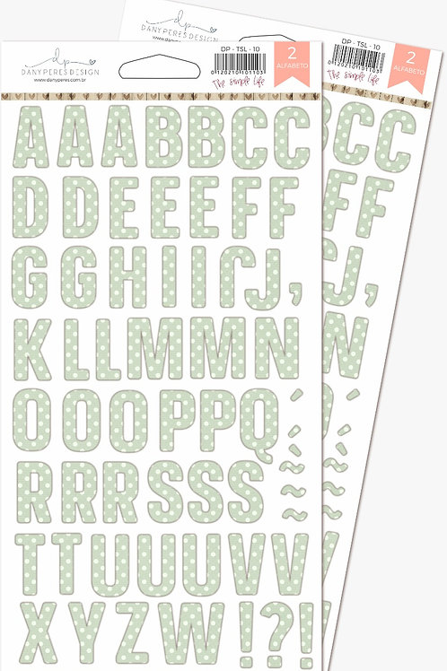 Kit com 03 Alfabetos em Chipboard Adesivo The Simple Life