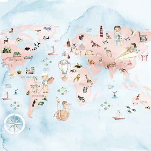 Kit de 10 Folhas Mapa Mundi