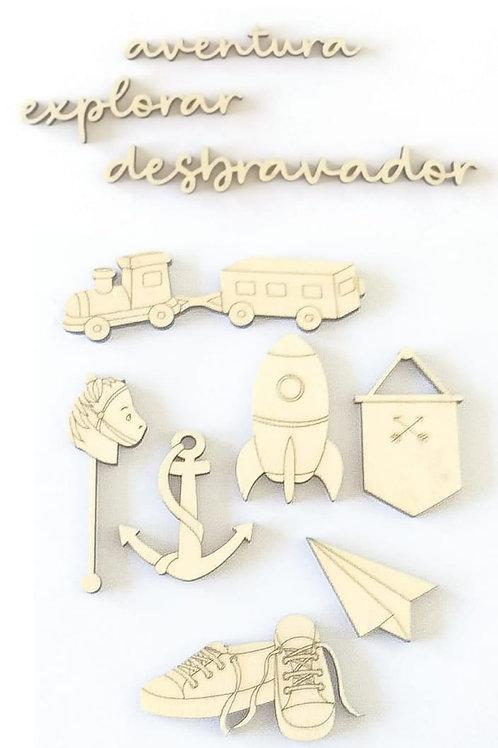 Kit com 3 Madeirinhas Pequenos Desbravadores