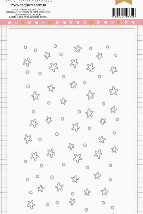 Kit com 3 placas de Stencil Chuva de Estrelas
