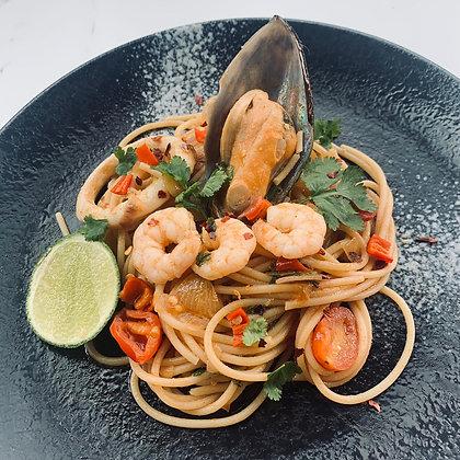 J - Tom Yum Seafood Trio Spaghetti