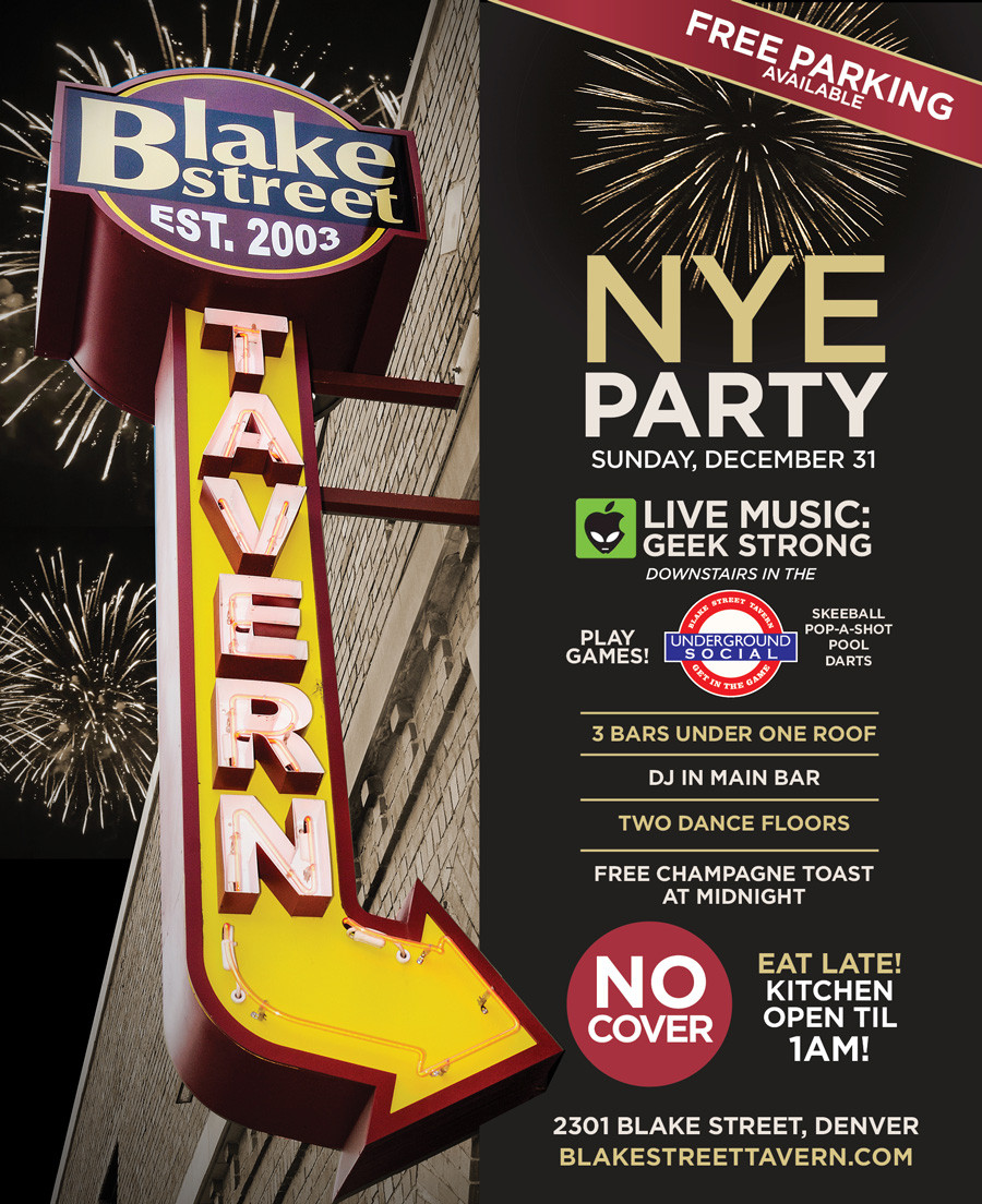 Denver Bar NYE Party - free parking