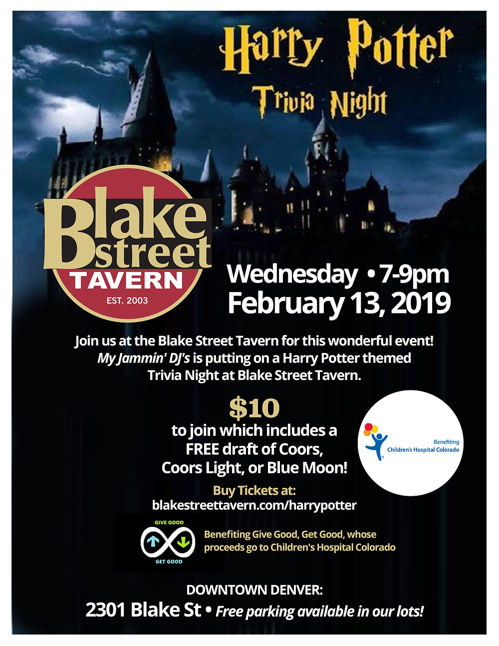 Harry Potter Trivia Night benefiting Children's Hospital Colorado at Blake Street Tavern in Downtown Denver