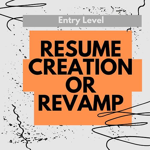 Resume Creation/Revamp For Entry Level