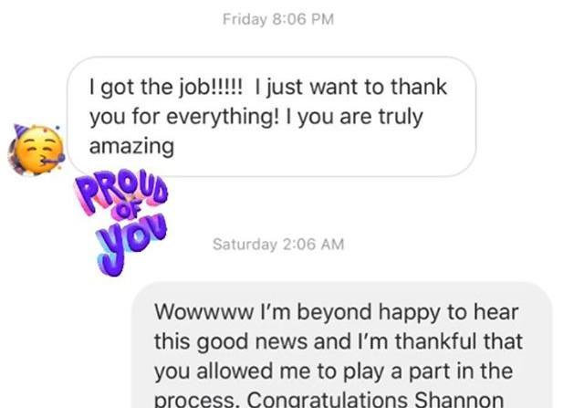 Client Feedback, she got the job! Resume