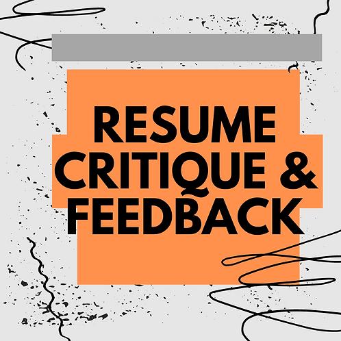 Resume Critique & Feedback