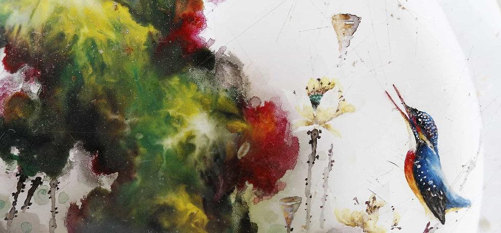 Birds and Flowers, inside painted snuff bottle, by Li Yingtao