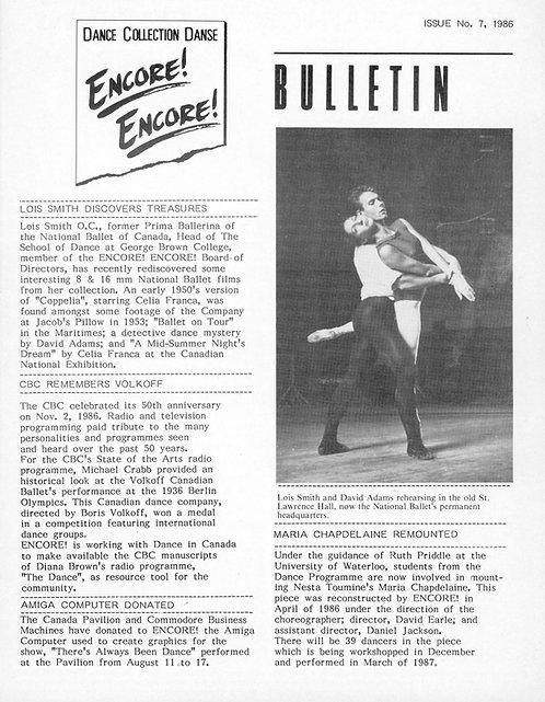 Encore! Encore! Bulletin - Issue 7, 1986