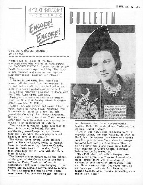 Encore! Encore! Bulletin - Issue 5, 1985