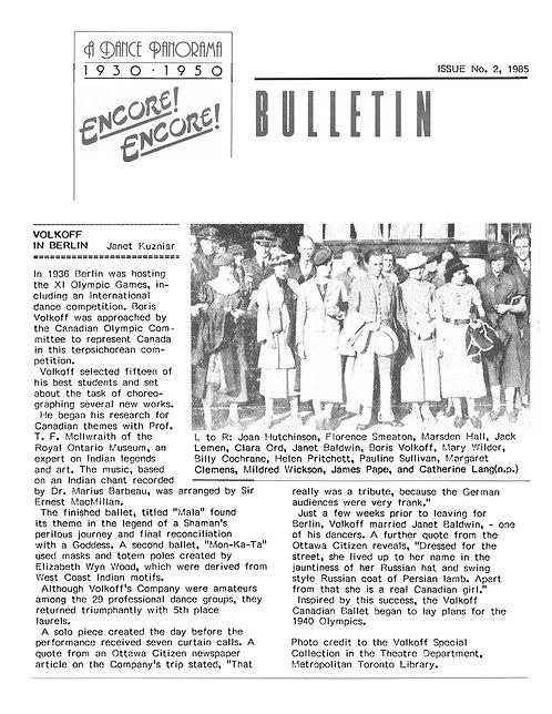 Encore! Encore! Bulletin - Issue 2, 1985