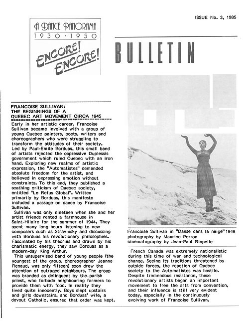 Encore! Encore! Bulletin - Issue 3, 1985