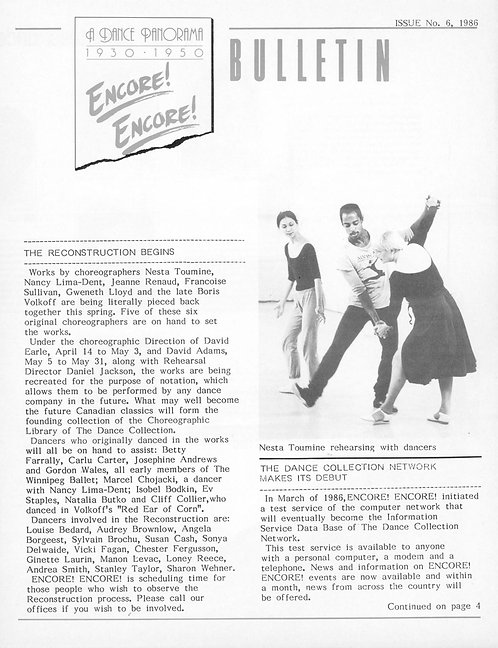 Encore! Encore! Bulletin - Issue 6, 1986