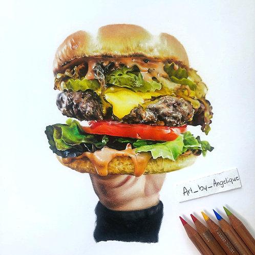Cheeseburger   ORIGINAL Drawing