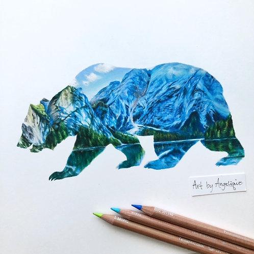 Bear Landscape | ORIGINAL Drawing