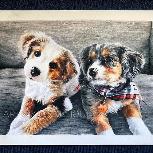 Two Puppies   ORIGINAL Portrait