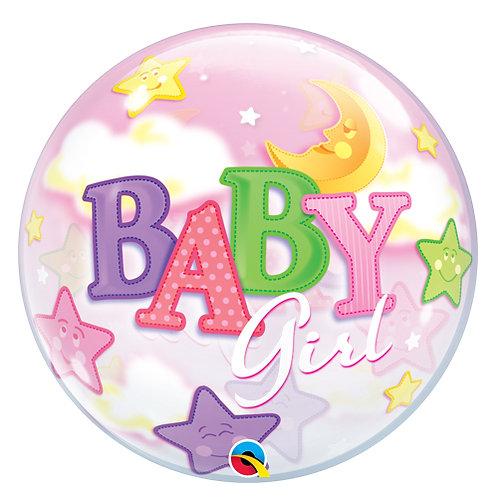 """22"""" Baby Girl Moon & Stars Helium Balloon"""
