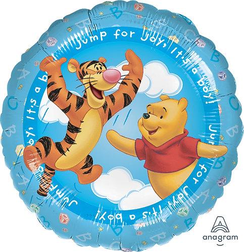 "18"" Winnie the Pooh & Tigger Jumping on Blue Sky Helium Balloon - w11"