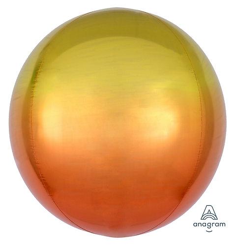 "16"" Orbz Sphere Shape Balloon - Yellow & Orange"