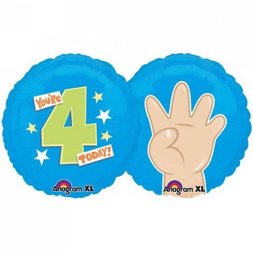 "18"" Finger 4 Number Helium Balloon - num04"