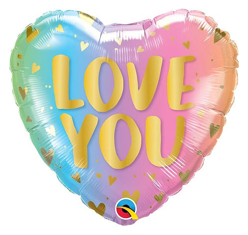 "18"" Love You Pastel Ombre & Hearts Helium Balloon - lv22"