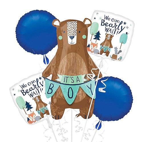 We Can Bearly Wait Helium Balloon Bouquet - bq70