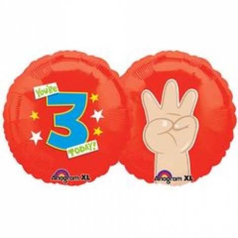 "18"" Finger 3 Number Helium Balloon - num03"