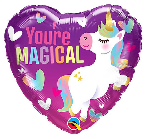 "18"" Heart Shape You're Magical Unicorn Helium Balloon - z89"