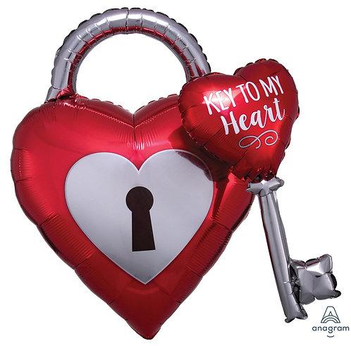 """32"""" Key To My Heart Helium Balloon - lv17"""