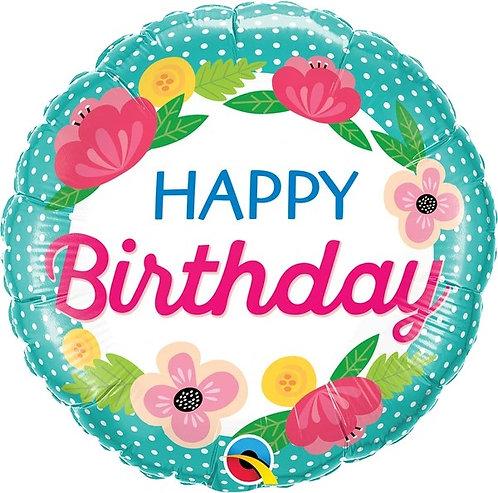 "18"" Birthday Petite Polka Dots Helium Balloon - hb79"