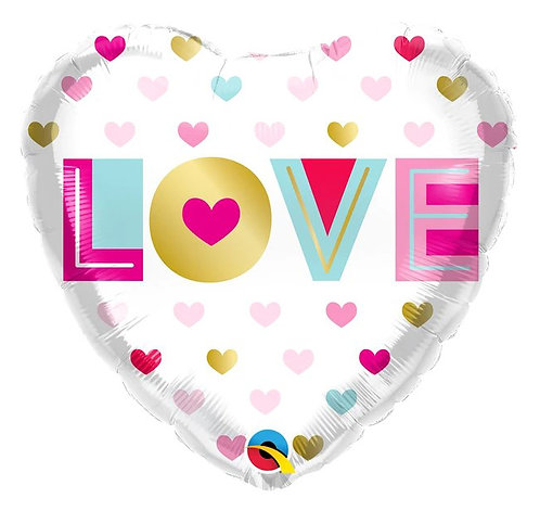 """18"""" Love & Metallic Hearts Helium Balloon - lv21"""