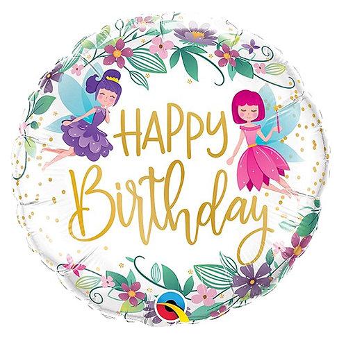 "18"" Birthday Wild Flower Fairies Helium Balloon - hb84"