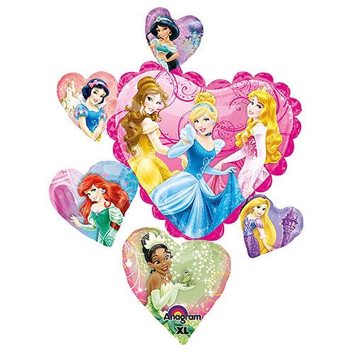 "34"" Princess Heart with 8 Princess Helium Balloon - ps14"