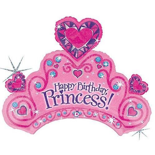 "30"" Princess Diamond Crown HBD Helium Balloon - ps57"