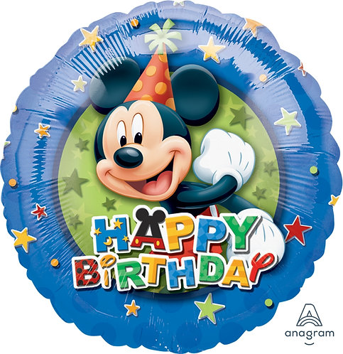 "18"" Mickey Mouse with Party Hat HBD Helium Balloon - m14"