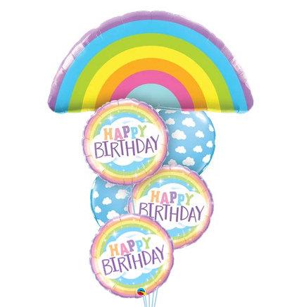 Pastel Rainbow & Clouds Helium Balloon Bouquet - bq69
