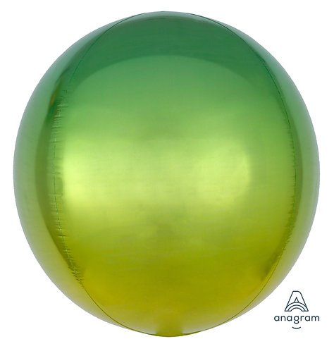 "16"" Orbz Sphere Shape Balloon - Yellow & Green"