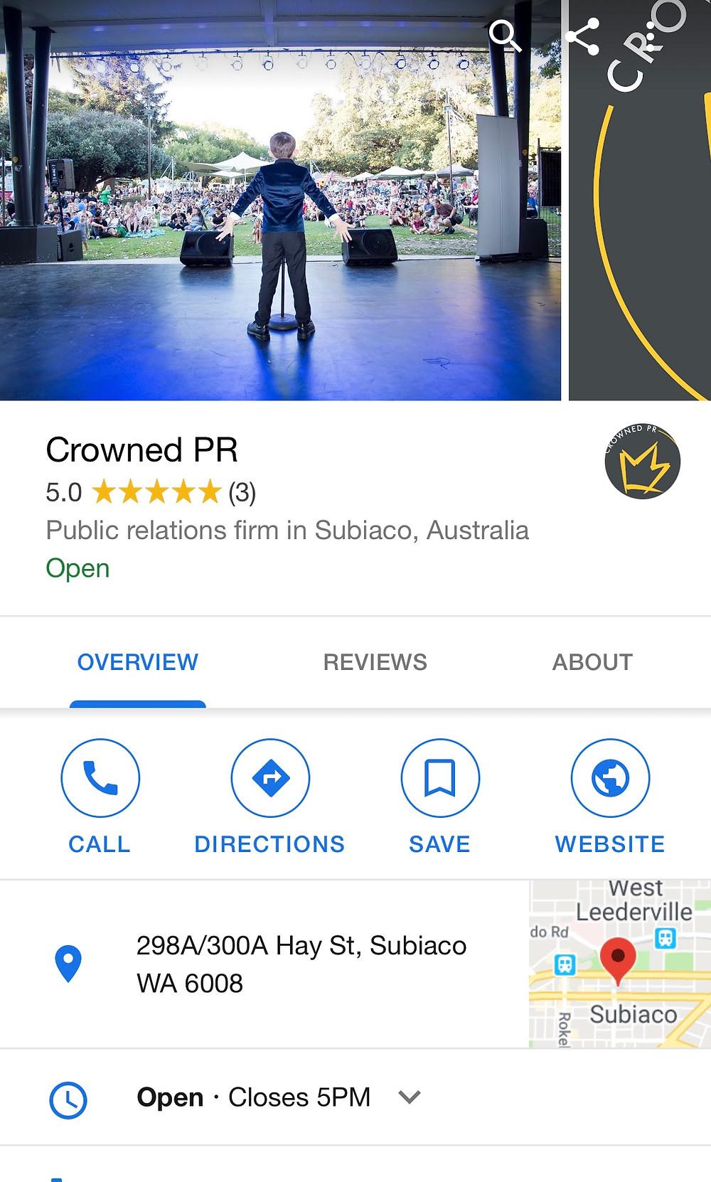 Crowned PR google