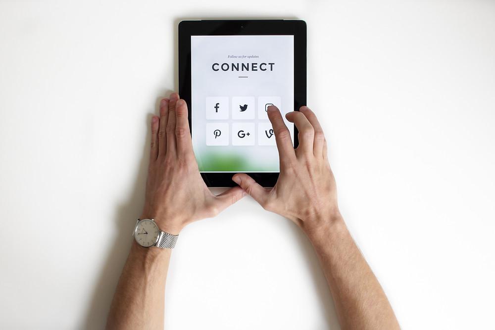 iPad displaying popular social media apps