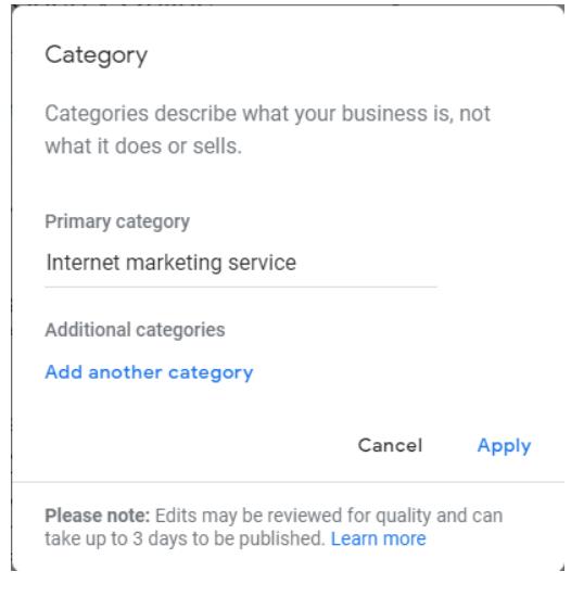 Google category