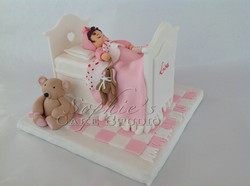 baby bed cake topper