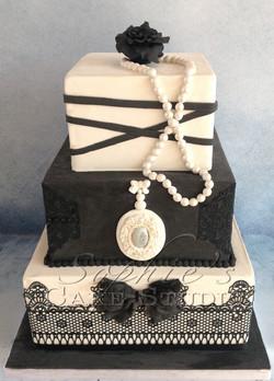 black and white cake wedding cake