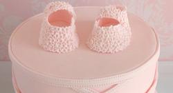 pink baby girl shoes cake (detail)