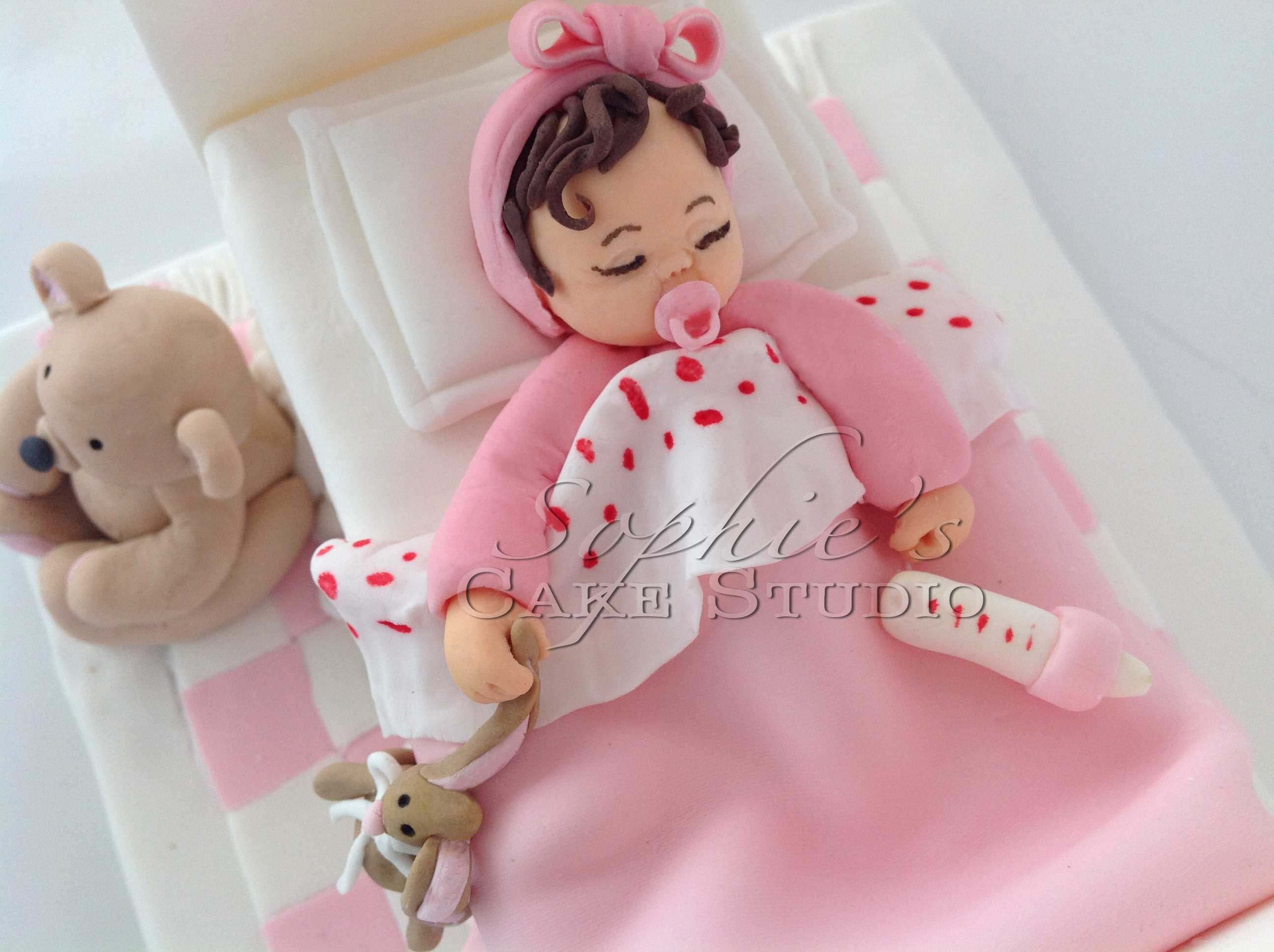 baby bed cake topper (detail)