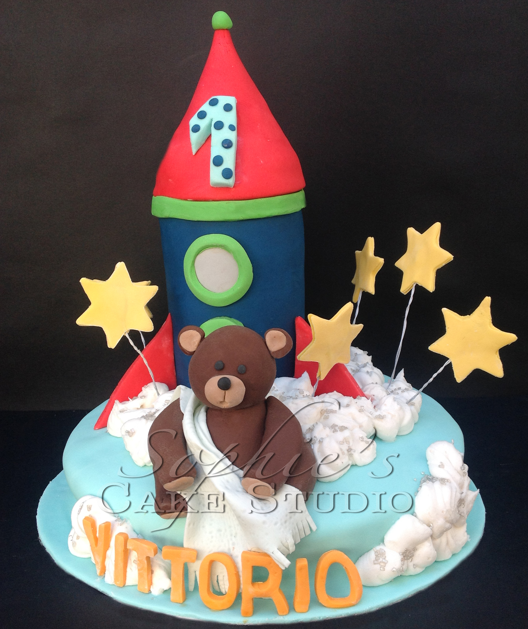 space and bear cake