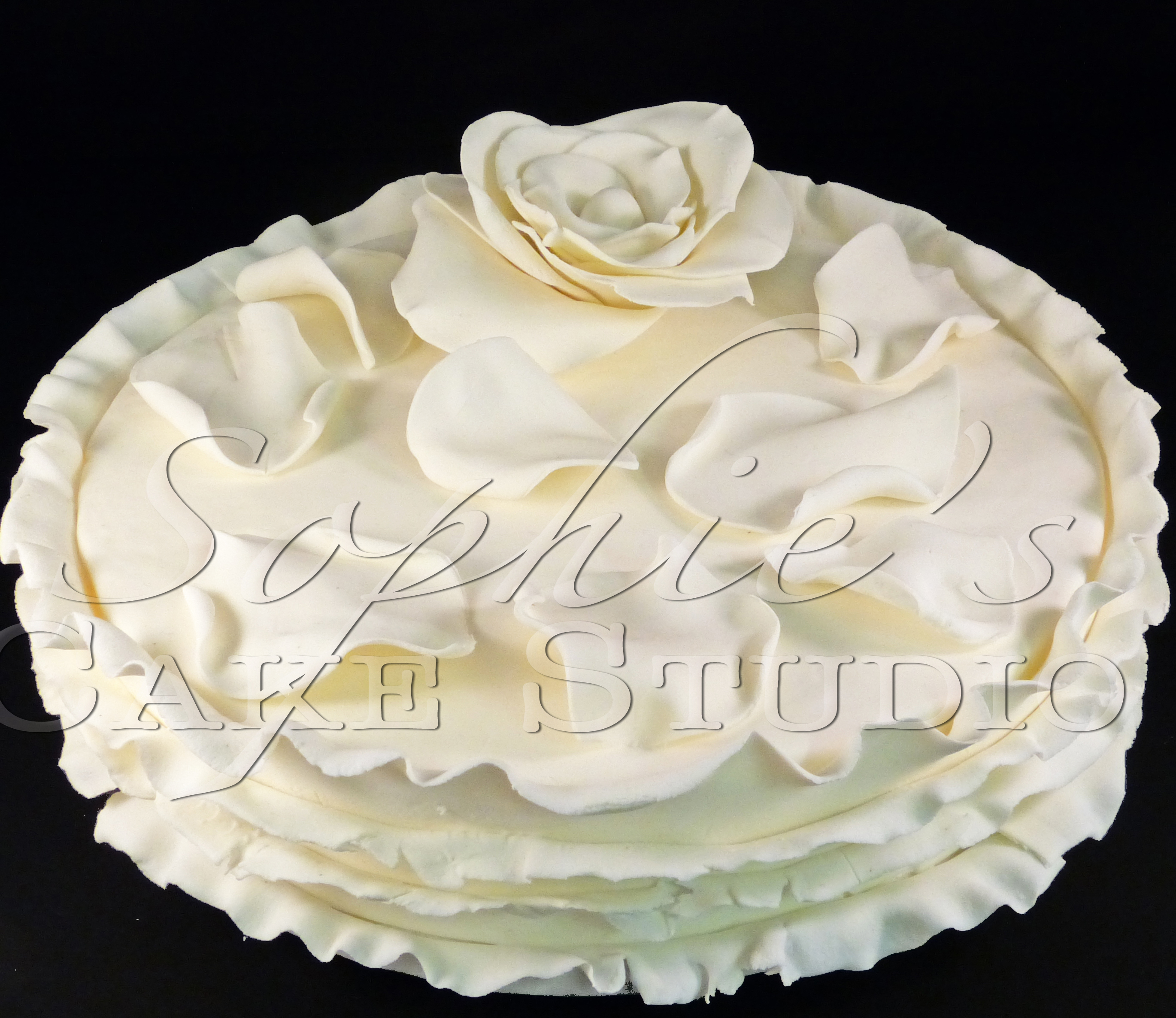 off white rose wedding cake