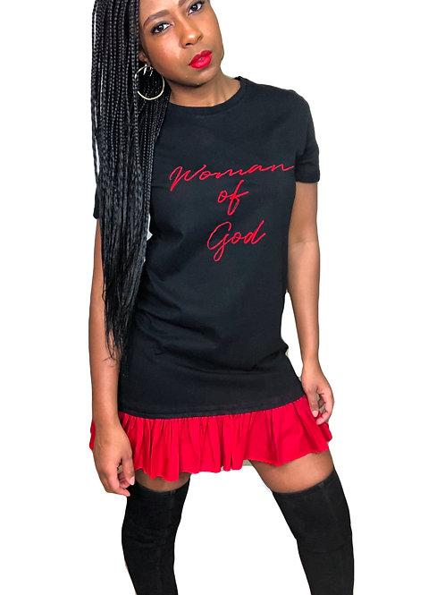 Woman of God Ruffle Shirt Dress