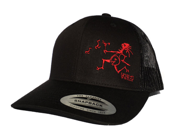Black WSMFP NoteEater FlexFit Trucker Hat with Red Embroidery